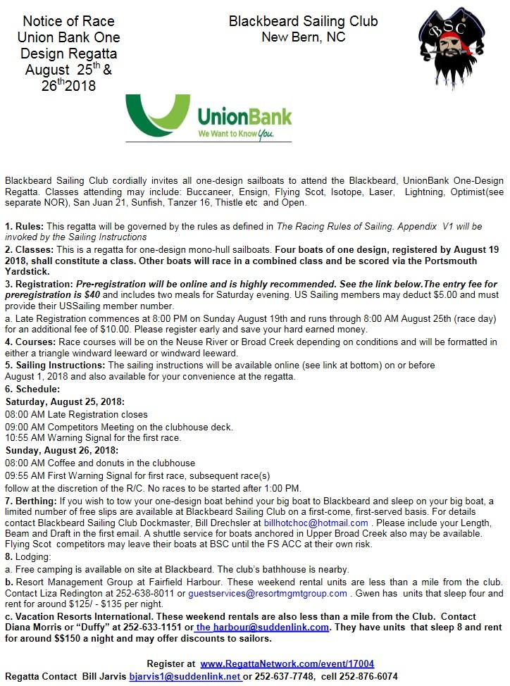 Union Bank One Design Regatta, 25-26 Aug, 2018